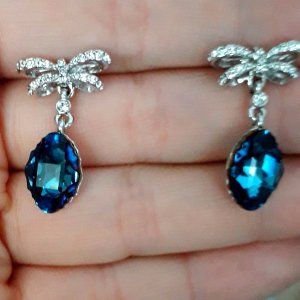 Original Kristallenohrringe (Crystals from Swarowski), Silber rhodiniert