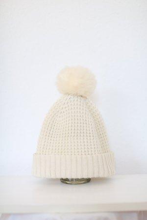 Original Kyi Kyi Canada Mütze Beanie Wollmütze Nude Faux Fur
