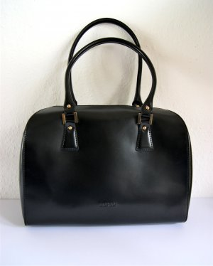 Original L.Credi Lederhandtasche, schwarzer Shopper Echtleder