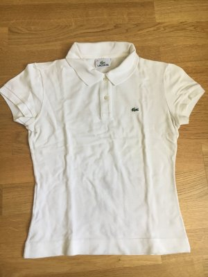 Original LACOSTE Slim Fit Damen-Poloshirt in weiß Gr 36 (FR 38)