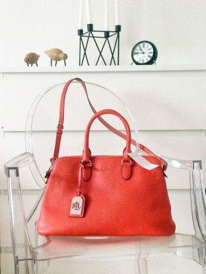 Original Lauren Ralph Tasche Leder dunkles Orange Rot neu Designer Bag Henkel