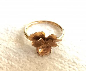 Original LEAF Ring Orchidee *vergoldet