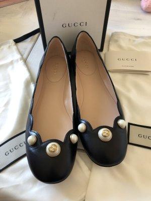Gucci Bailarinas con tacón Mary Jane negro-color oro Cuero