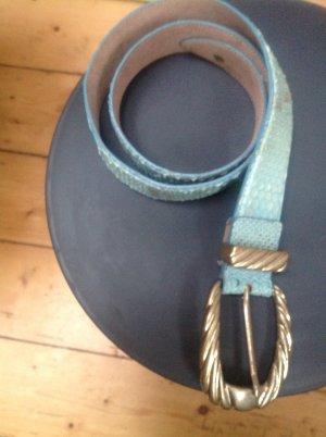 Cinturón de cuero azul bebé-beige Cuero