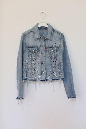 Original Levi's Jeansjacke Limited Edition Einzelstück Gr. M Fransen Vintage Look Cropped