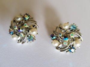 Boucles d'oreilles en perles bleu fluo-gris clair