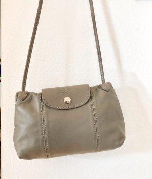 Original Longchamp Le Pliage Cuir Messenger Crossbody Bag / Handtasche Umhängetasche Leder in taupe / grau