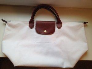 Longchamp Carry Bag white-light brown textile fiber