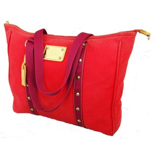 "ORIGINAL LOUIS VUITTON ""ANTIGUA GM"" LEINEN ROT LIMITIERT / GROSS / GUTER ZUSTAND"