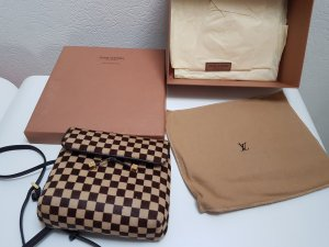 Original Louis Vuitton Gazelle Damier Sauvage Leder/Pelz crossover Tasche bag