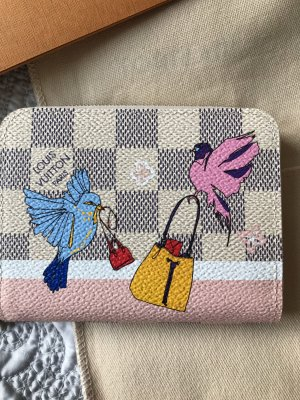 Original Louis Vuitton Geldtasche Zippy Limitiert Vögel Azur