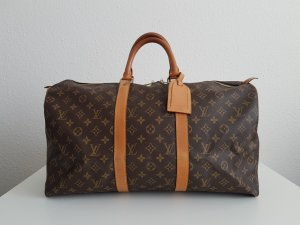 Louis Vuitton Travel Bag brown-gold-colored linen