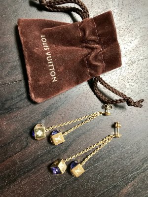 Original Louis Vuitton Ohrring Swarovski Gold Kristalle Blau