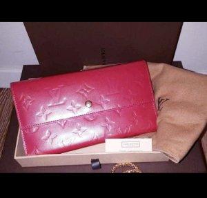 Original Louis Vuitton Portemonnaie Porte Tresor International Vernis Leder Monogram Framboise-Rouge