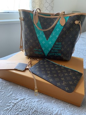 Original Louis Vuitton Tasche Neverfull MM Türkis V Voyage