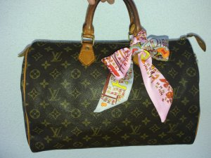 Original LOUIS VUITTON Vintage Speedy 35 Monogram Canvas inkl. Schloss und Bandeau