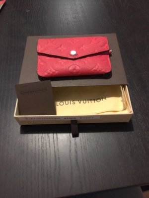 Louis Vuitton Étui porte-clés rouge framboise-argenté cuir