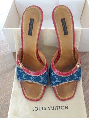 Louis Vuitton Mule à talon rouge foncé-bleu