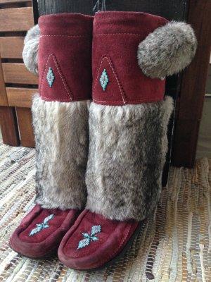 Original Manitobah Muks Mukluks Gr.39 Burgundy Wildleder Boots
