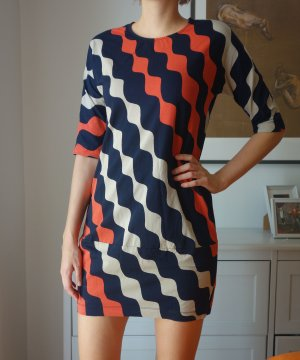 Original Marimekko Minikleid Baumwolle Blau Orange Gr. 36/38