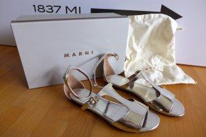 Original Marni Designer Riemchen Sandale Kalbsleder silber Gr. 38,5 39 top