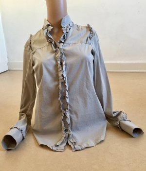 Original MAURO GRIFONI Bluse dezentes Grau mit Rüschen Größe S