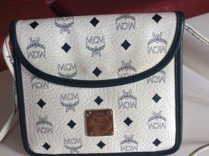 Original MCM Handtasche Umhängetasche, Luxus Vintage, blau/weiß, Leder, Rarität, hoher Neupreis