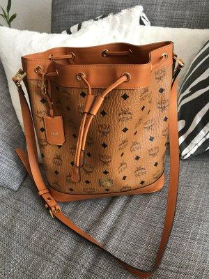 Original MCM Heritage Drawstring Bucket Bag Small Cognac