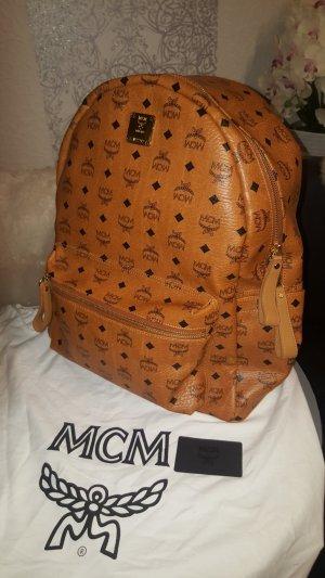 Original MCM Rucksack Stark LARGE NEU Der Größte cognac Tasche Reisetasche