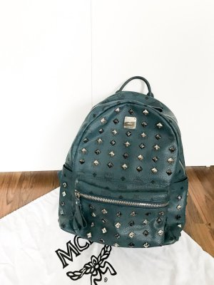 MCM Backpack silver-colored-petrol