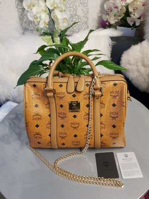 Original MCM Tasche Boston Bag cognac & Kaufnachweis