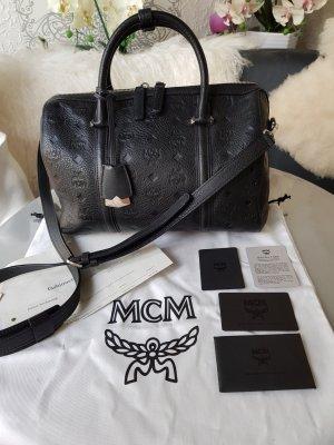 Original MCM Tasche Boston Bag Monogrammed schwarz silber & Rechnung Full Set