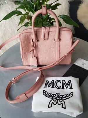 Original MCM Tasche Boston Bag rosa rose & Rechnung