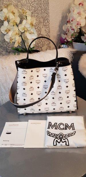 Original MCM Tasche Corina Visetos NEU Medium White Full-Set