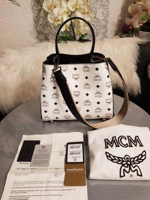 Original MCM Tasche Corina Visetos & Rechnung White black Full Set