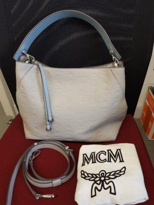 MCM Sac bandoulière gris clair-bleu azur