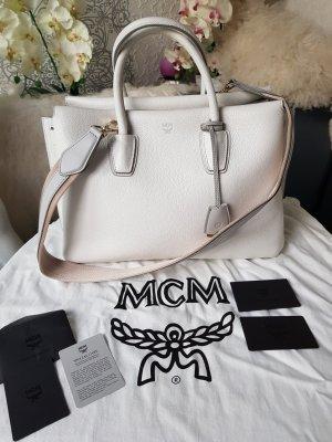 Original MCM Tasche Milla Large weiss grau neuwertig