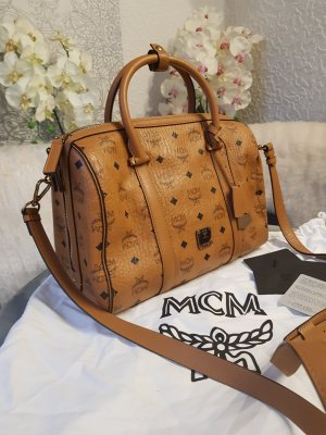 Original MCM Tasche SIgnature Visetos Heritage Boston Bag cognac Medium