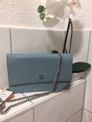 Original MCM Wallet Hellblau / Tasche Umhängetasche