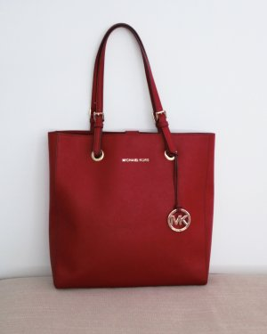 Original Michael Kors Jet Set Travel North / South Tote Handtasche Rot Got wie Neu MK Saffiano Leder