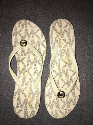 Original Michael Kors Platform Flip Flops Sandalen Beige Gold