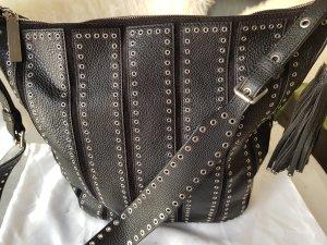 Original Michael Kors Tasche Brooklyn schwarz silber Echtleder
