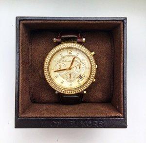 Original Michael Kors Uhr mit Lederarmband, Braun/Gold, Chronograph