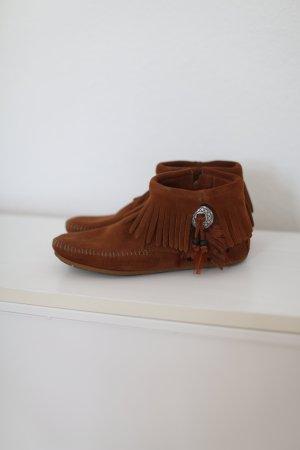 Original Minnetonka Concho Feather Hippie Boho Wildleder Ankle Boots Gr. 38