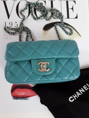 Chanel Sac bandoulière turquoise cuir