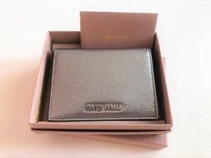Miu Miu Wallet silver-colored-light grey leather