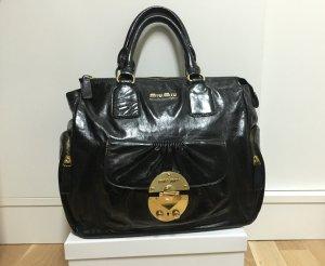 Original Miu Miu Tasche Schwarz Leder Goldene Verschluss