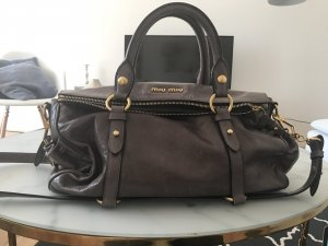 Original MiuMiu Cipria Vitello Lux Leather Zip Tote grau