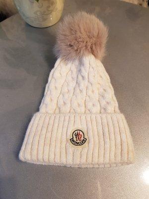 Moncler Chapeau en tricot blanc cassé