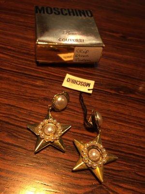 Original Moschino Couture! Byoux Ohrclips Clips Stern Perlen NEU